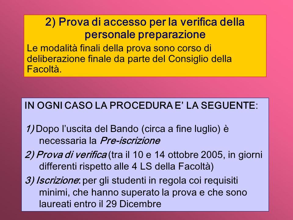 2) Prova di accesso per la verifica della personale preparazione Le modalità finali della prova sono corso di deliberazione finale da parte del Consiglio della Facoltà.
