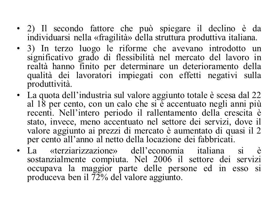 2) Il secondo fattore che può spiegare il declino è da individuarsi nella «fragilità» della struttura produttiva italiana. 3) In terzo luogo le riform