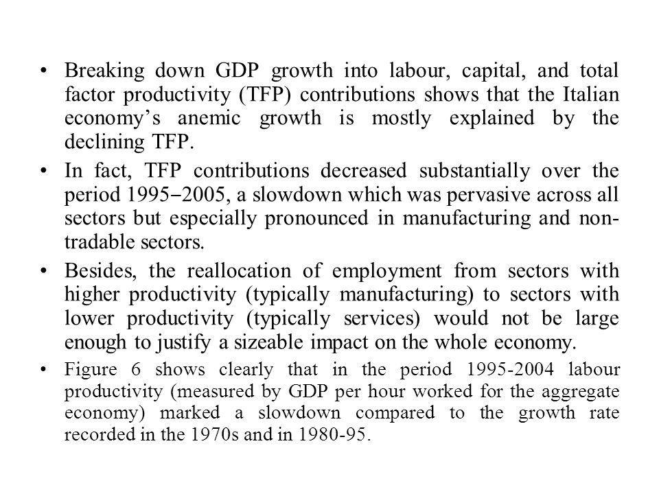 Breaking down GDP growth into labour, capital, and total factor productivity (TFP) contributions shows that the Italian economy's anemic growth is mostly explained by the declining TFP.