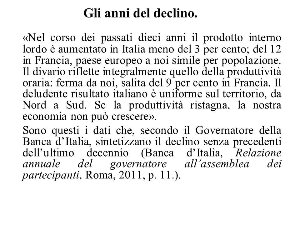 Gli anni del declino. «Nel corso dei passati dieci anni il prodotto interno lordo è aumentato in Italia meno del 3 per cento; del 12 in Francia, paese