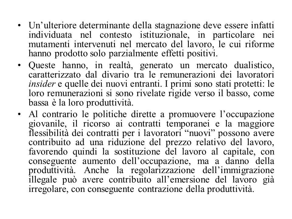 Un'ulteriore determinante della stagnazione deve essere infatti individuata nel contesto istituzionale, in particolare nei mutamenti intervenuti nel mercato del lavoro, le cui riforme hanno prodotto solo parzialmente effetti positivi.