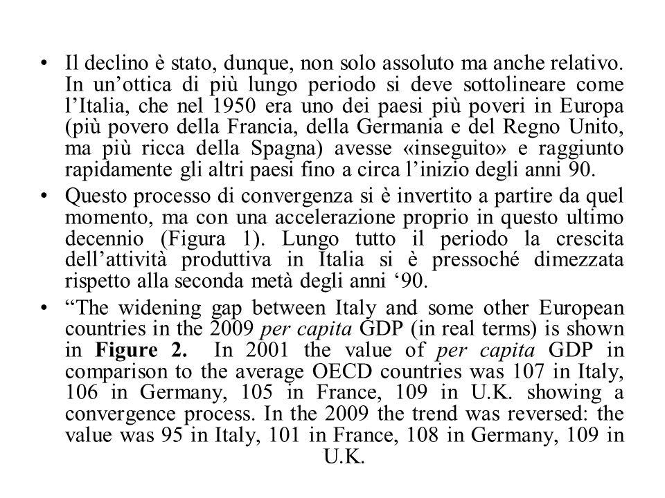 Quando il vantaggio competitivo basato sul meccanismo monetario è venuto meno in seguito alla partecipazione dell'Italia all'euro le carenze del nostro sistema produttivo si sono manifestate in tutta evidenza.