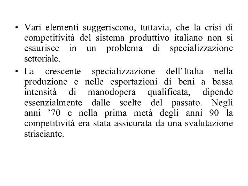 Vari elementi suggeriscono, tuttavia, che la crisi di competitività del sistema produttivo italiano non si esaurisce in un problema di specializzazione settoriale.