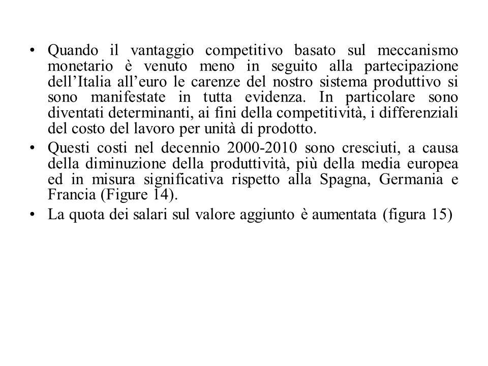 Quando il vantaggio competitivo basato sul meccanismo monetario è venuto meno in seguito alla partecipazione dell'Italia all'euro le carenze del nostr
