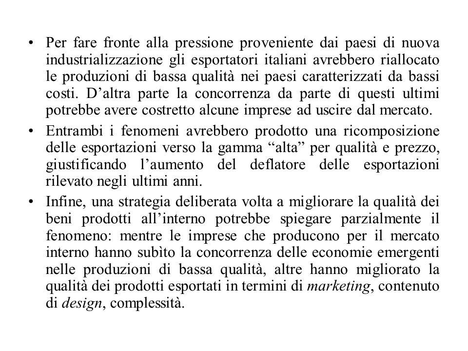 Per fare fronte alla pressione proveniente dai paesi di nuova industrializzazione gli esportatori italiani avrebbero riallocato le produzioni di bassa qualità nei paesi caratterizzati da bassi costi.