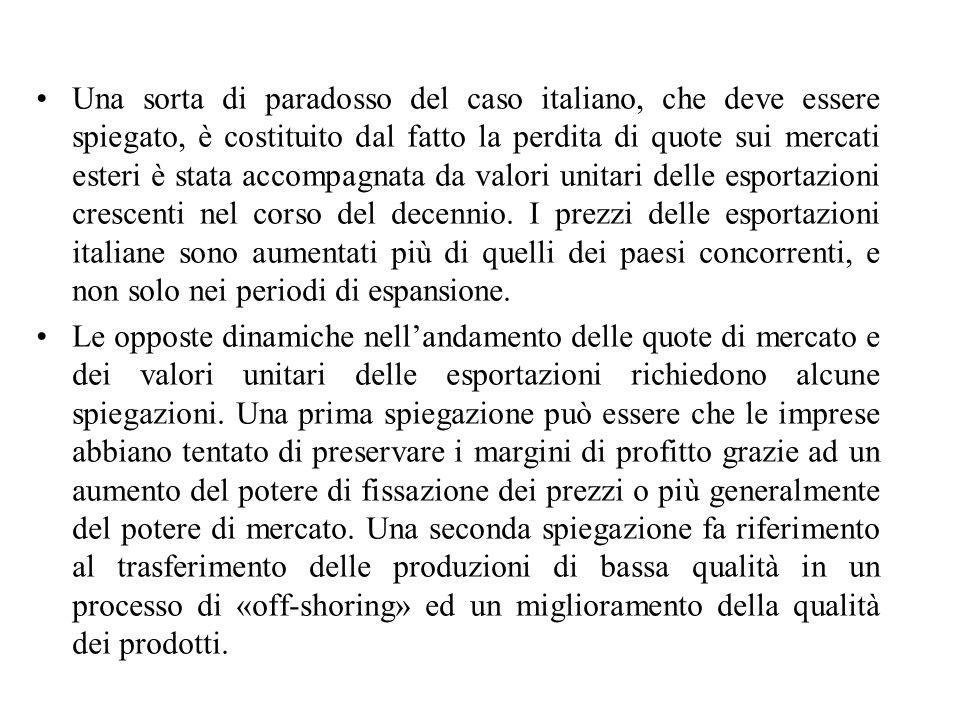 Una sorta di paradosso del caso italiano, che deve essere spiegato, è costituito dal fatto la perdita di quote sui mercati esteri è stata accompagnata da valori unitari delle esportazioni crescenti nel corso del decennio.