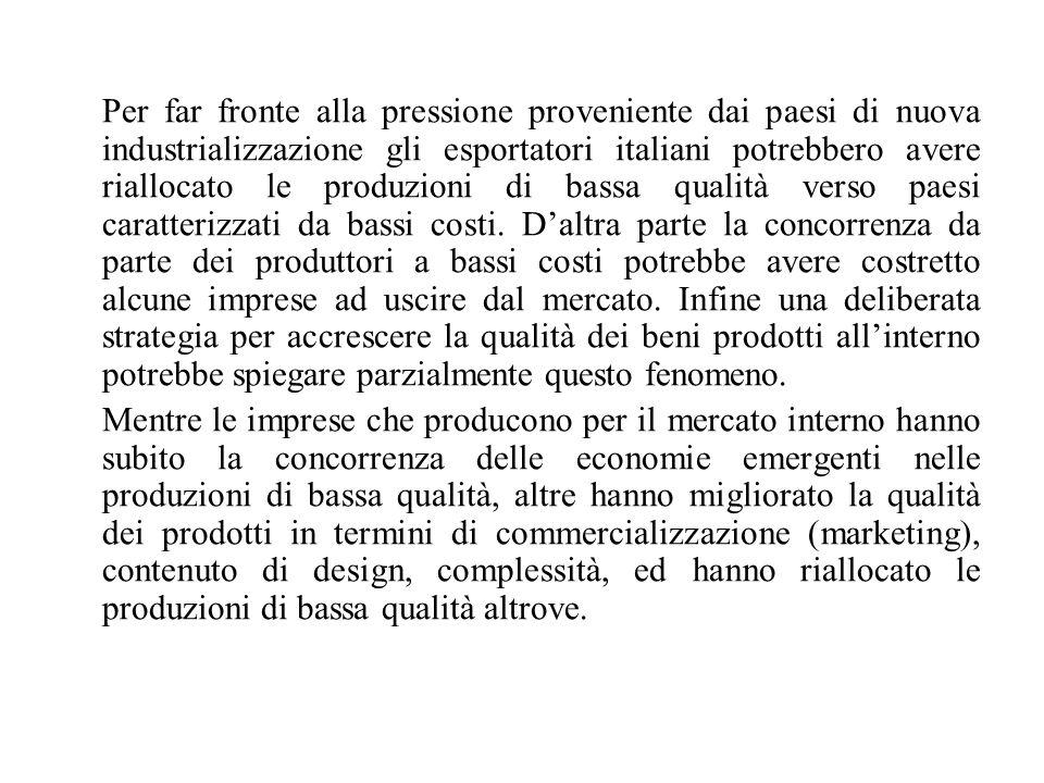 Per far fronte alla pressione proveniente dai paesi di nuova industrializzazione gli esportatori italiani potrebbero avere riallocato le produzioni di bassa qualità verso paesi caratterizzati da bassi costi.