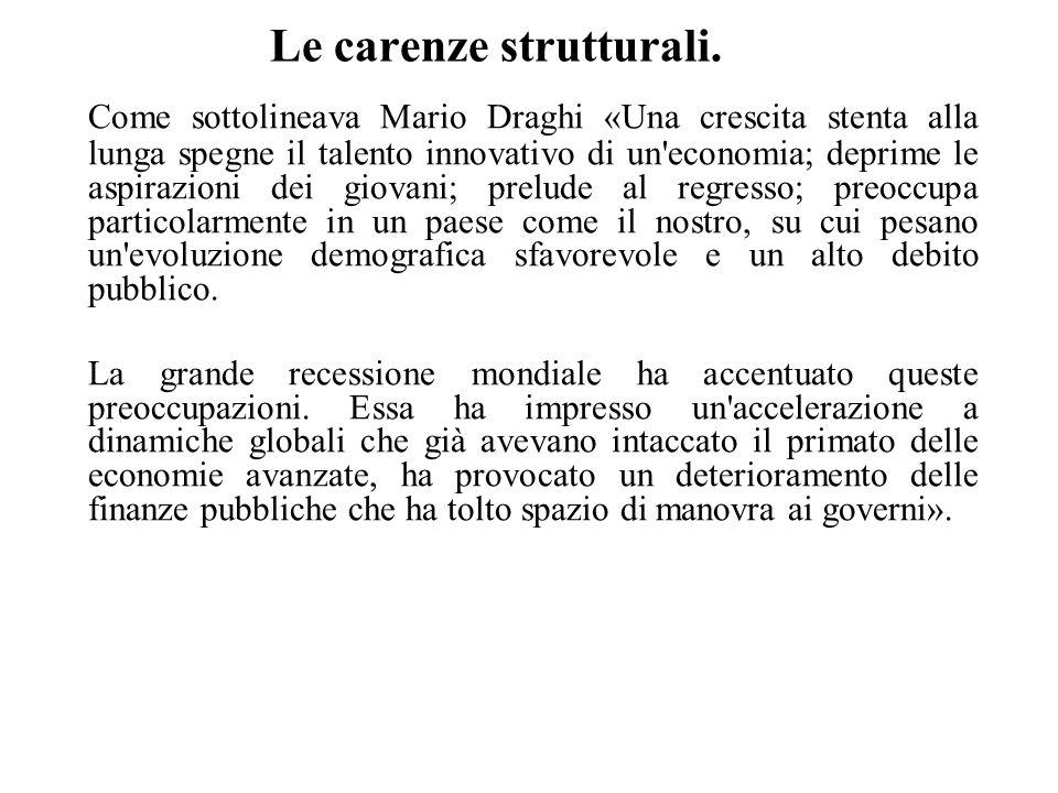 Le carenze strutturali. Come sottolineava Mario Draghi «Una crescita stenta alla lunga spegne il talento innovativo di un'economia; deprime le aspiraz