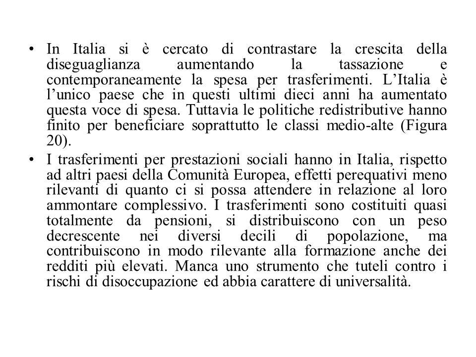 In Italia si è cercato di contrastare la crescita della diseguaglianza aumentando la tassazione e contemporaneamente la spesa per trasferimenti.