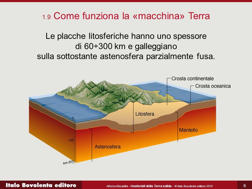 Alfonso Bosellini – I materiali della Terra solida - © Italo Bovolenta editore 2012 6 Le placche litosferiche hanno uno spessore di 60÷300 km e galleg