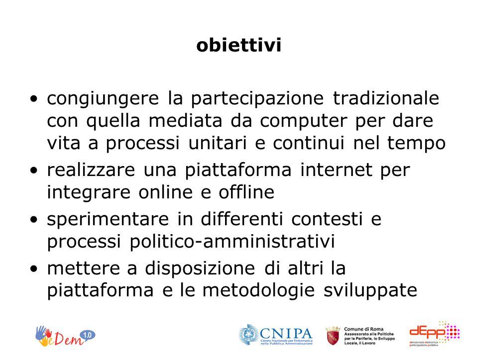 obiettivi congiungere la partecipazione tradizionale con quella mediata da computer per dare vita a processi unitari e continui nel tempo realizzare u