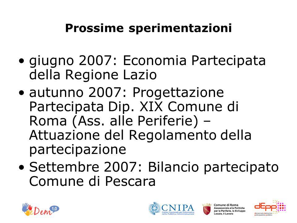 Prossime sperimentazioni giugno 2007: Economia Partecipata della Regione Lazio autunno 2007: Progettazione Partecipata Dip. XIX Comune di Roma (Ass. a