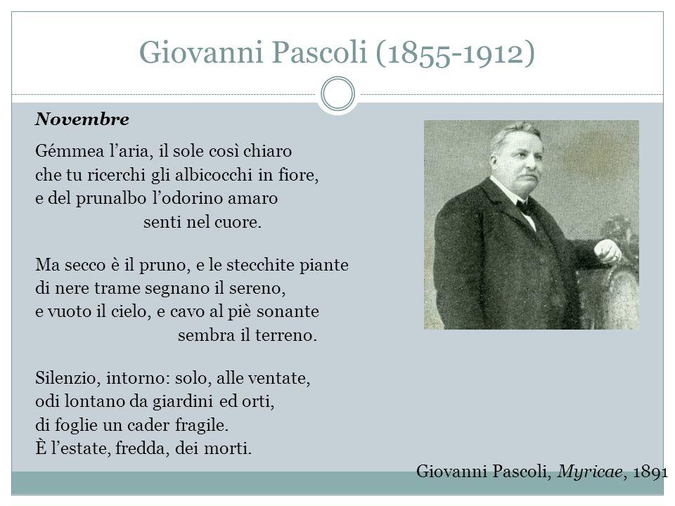 Giovanni Pascoli (1855-1912) Novembre Gémmea l'aria, il sole così chiaro che tu ricerchi gli albicocchi in fiore, e del prunalbo l'odorino amaro senti