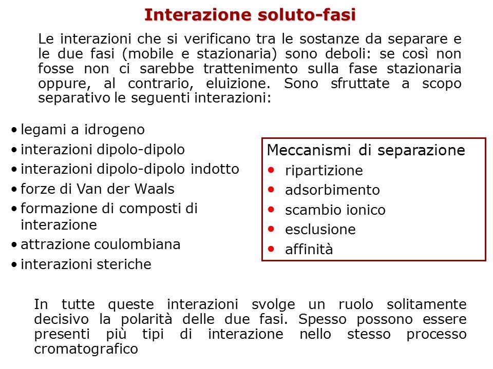 Interazione soluto-fasi Le interazioni che si verificano tra le sostanze da separare e le due fasi (mobile e stazionaria) sono deboli: se così non fos