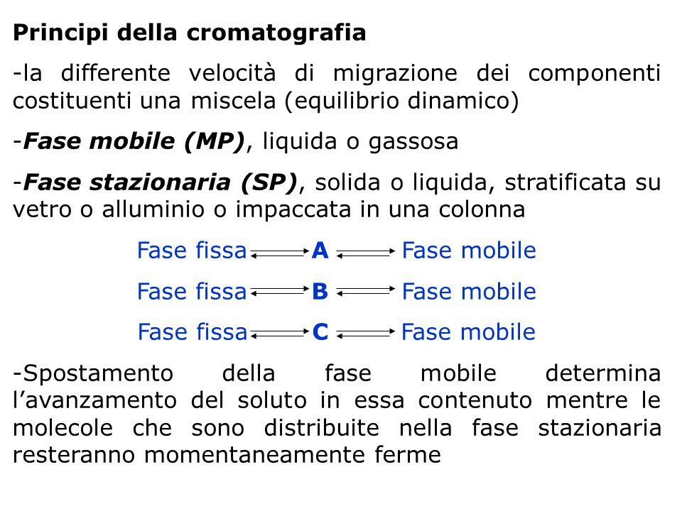 Principi della cromatografia -la differente velocità di migrazione dei componenti costituenti una miscela (equilibrio dinamico) -Fase mobile (MP), liq
