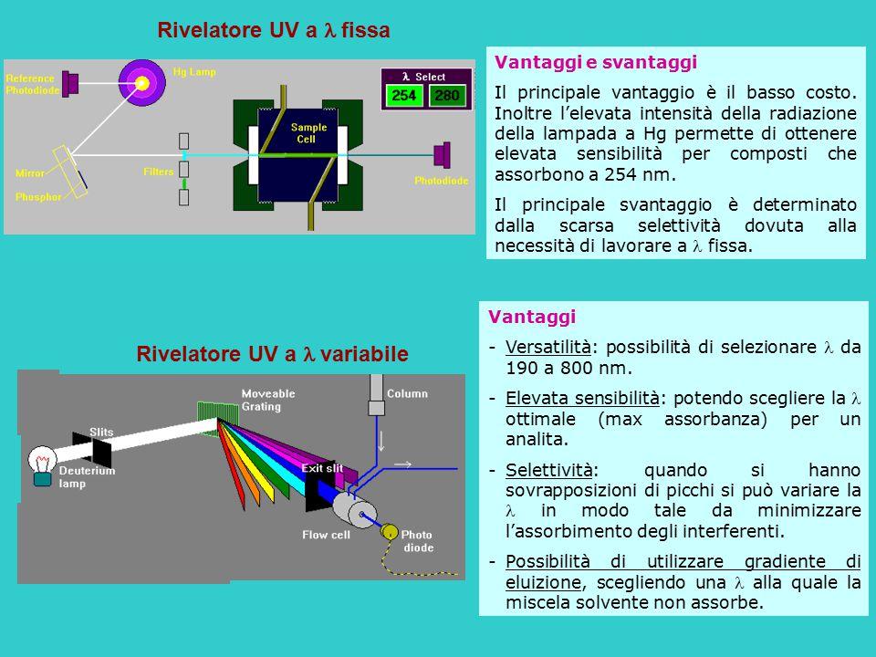 Rivelatore UV a fissa Vantaggi e svantaggi Il principale vantaggio è il basso costo. Inoltre l'elevata intensità della radiazione della lampada a Hg p