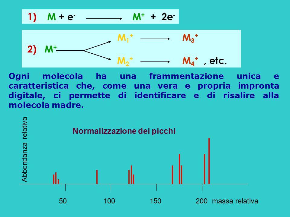 1) M + e - M + + 2e - M 1 + M 3 + 2) M + M 2 + M 4 +, etc. 50 100 150 200 massa relativa Abbondanza relativa Ogni molecola ha una frammentazione unica