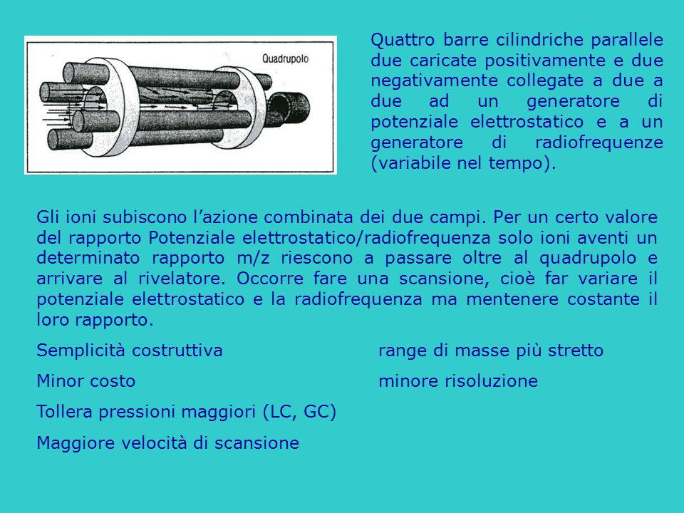 Quattro barre cilindriche parallele due caricate positivamente e due negativamente collegate a due a due ad un generatore di potenziale elettrostatico
