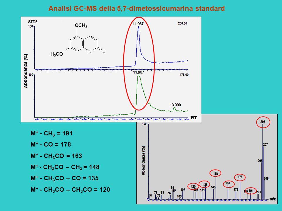 Analisi GC-MS della 5,7-dimetossicumarina standard M + - CH 3 = 191 M + - CO = 178 M + - CH 3 CO = 163 M + - CH 3 CO – CH 3 = 148 M + - CH 3 CO – CO =