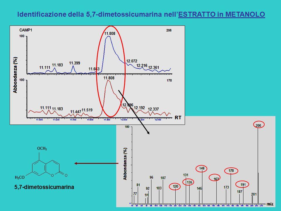 Identificazione della 5,7-dimetossicumarina nell'ESTRATTO in METANOLO OCH 3 H 3 CO 5,7-dimetossicumarina