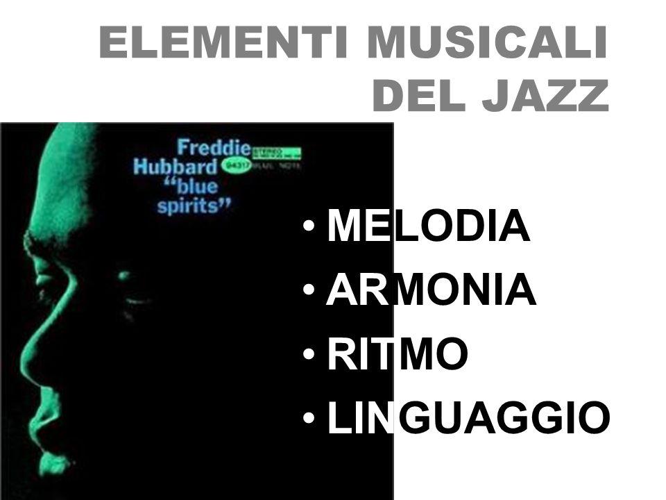 MELODIA ARMONIA RITMO LINGUAGGIO ELEMENTI MUSICALI DEL JAZZ