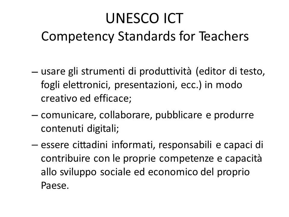 UNESCO ICT Competency Standards for Teachers – usare gli strumenti di produttività (editor di testo, fogli elettronici, presentazioni, ecc.) in modo c