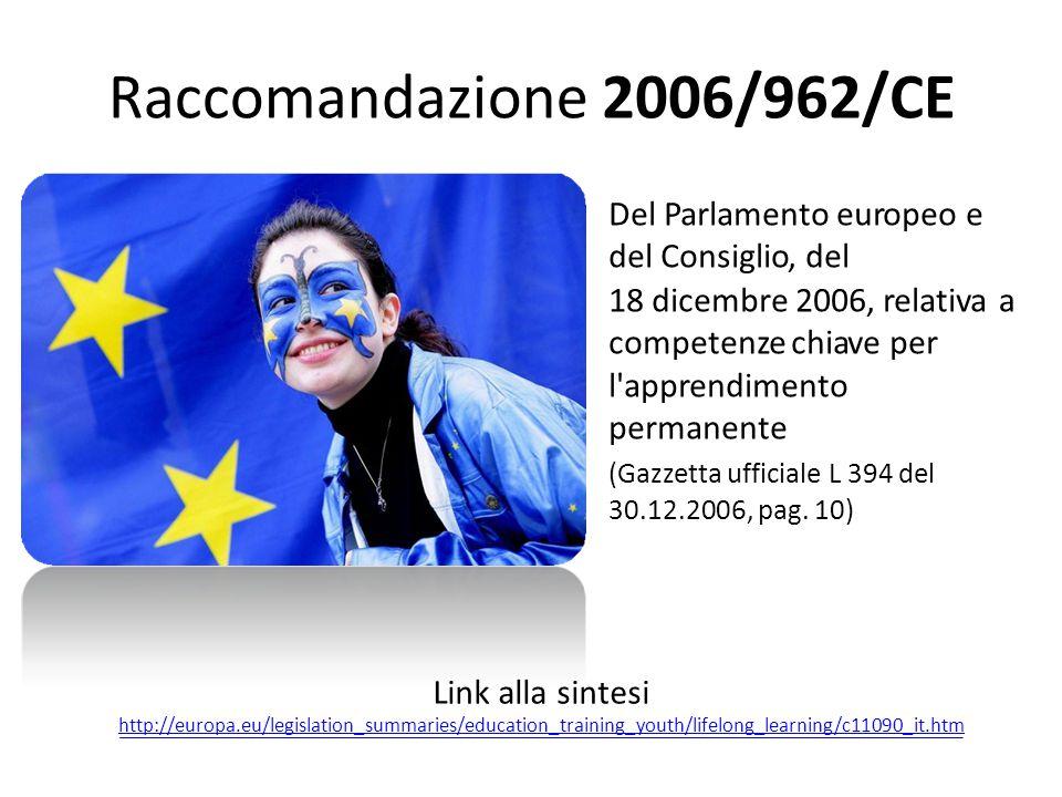 Raccomandazione2006/962/CE Del Parlamento europeo e del Consiglio, del 18 dicembre 2006, relativa competenze chiave per l'apprendimento permanente (Ga