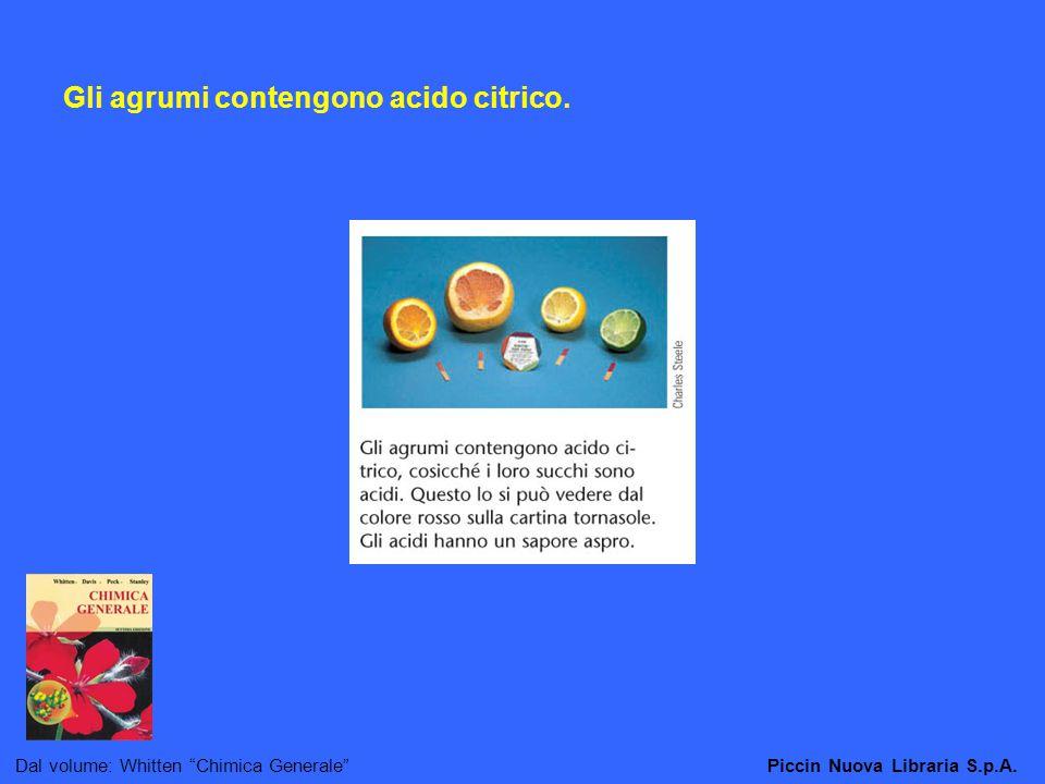 Gli agrumi contengono acido citrico.
