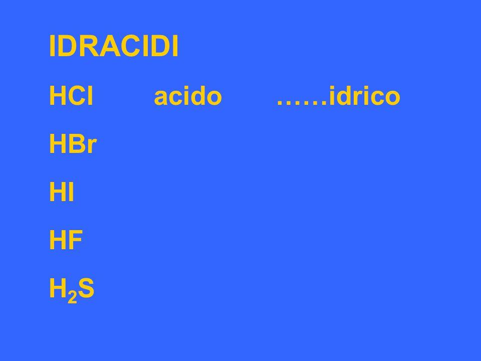 IDRACIDI HCl acido ……idrico HBr HI HF H 2 S