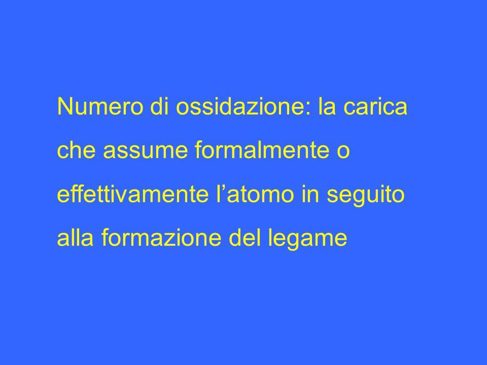 Numero di ossidazione: la carica che assume formalmente o effettivamente l'atomo in seguito alla formazione del legame