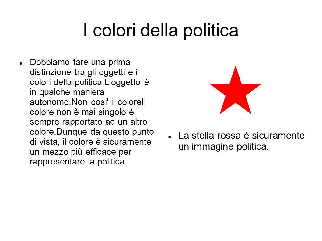 I colori della politica Dobbiamo fare una prima distinzione tra gli oggetti e i colori della politica.L oggetto è in qualche maniera autonomo.Non cosi il coloreIl colore non è mai singolo è sempre rapportato ad un altro colore.Dunque da questo punto di vista, il colore è sicuramente un mezzo più efficace per rappresentare la politica.