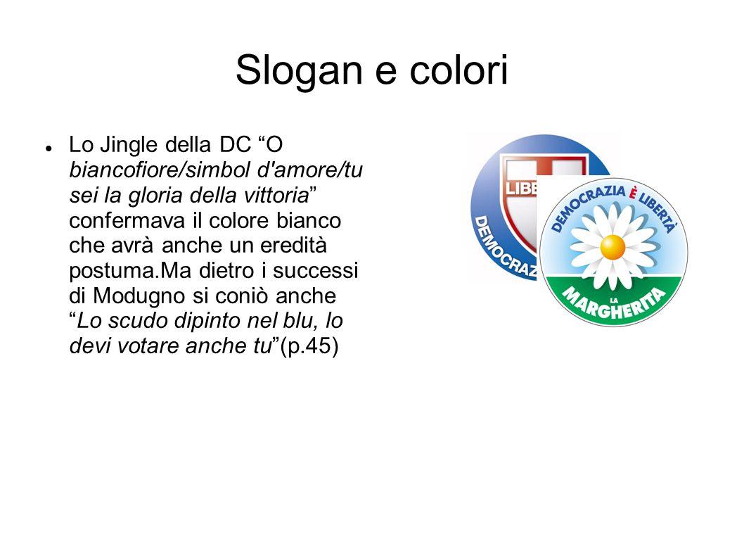 """Slogan e colori Lo Jingle della DC """"O biancofiore/simbol d'amore/tu sei la gloria della vittoria"""" confermava il colore bianco che avrà anche un eredit"""