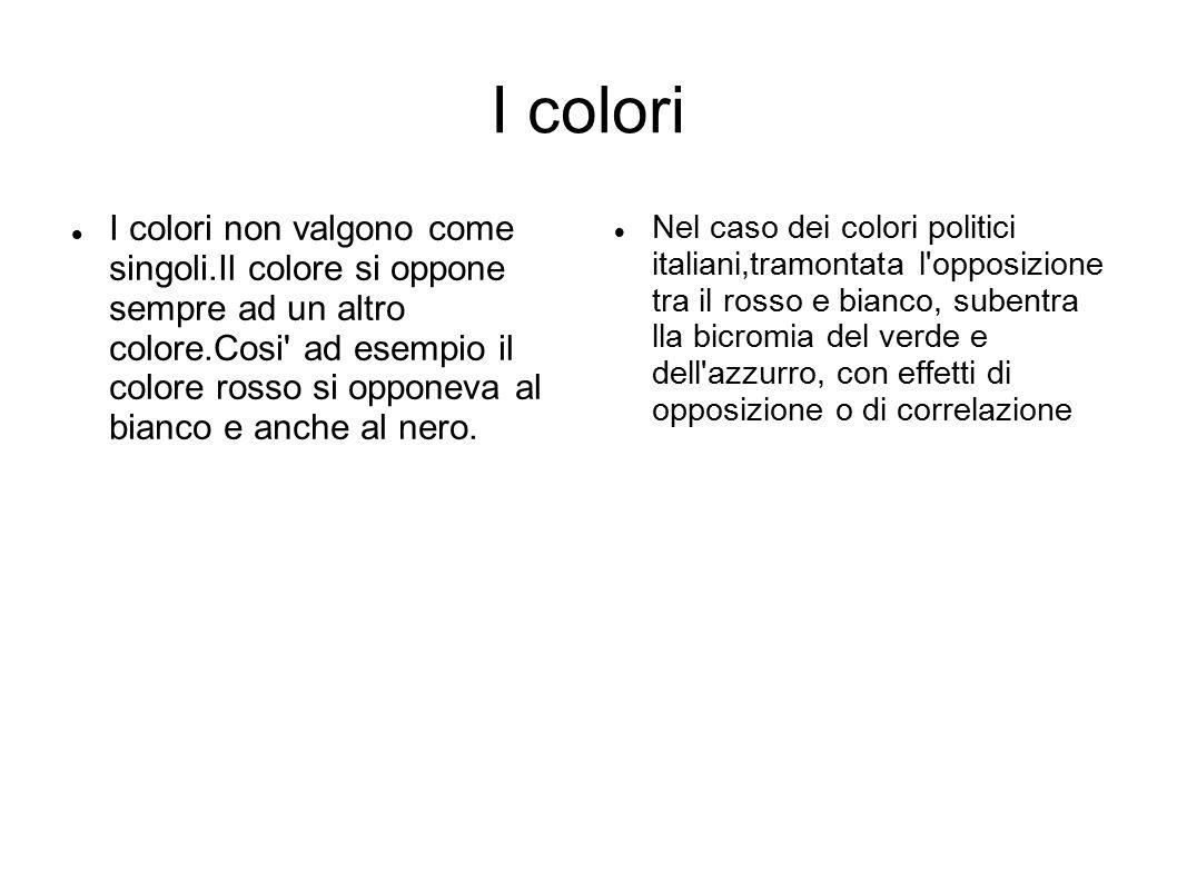I colori I colori non valgono come singoli.Il colore si oppone sempre ad un altro colore.Cosi' ad esempio il colore rosso si opponeva al bianco e anch