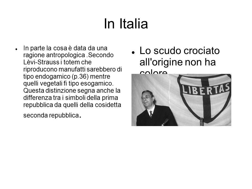 In Italia In parte la cosa è data da una ragione antropologica.Secondo Lèvi-Strauss i totem che riproducono manufatti sarebbero di tipo endogamico (p.36) mentre quelli vegetali fi tipo esogamico.