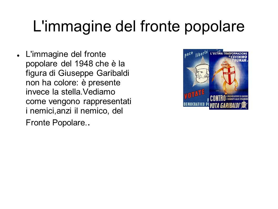 L immagine del fronte popolare L immagine del fronte popolare del 1948 che è la figura di Giuseppe Garibaldi non ha colore: è presente invece la stella.Vediamo come vengono rappresentati i nemici,anzi il nemico, del Fronte Popolare..
