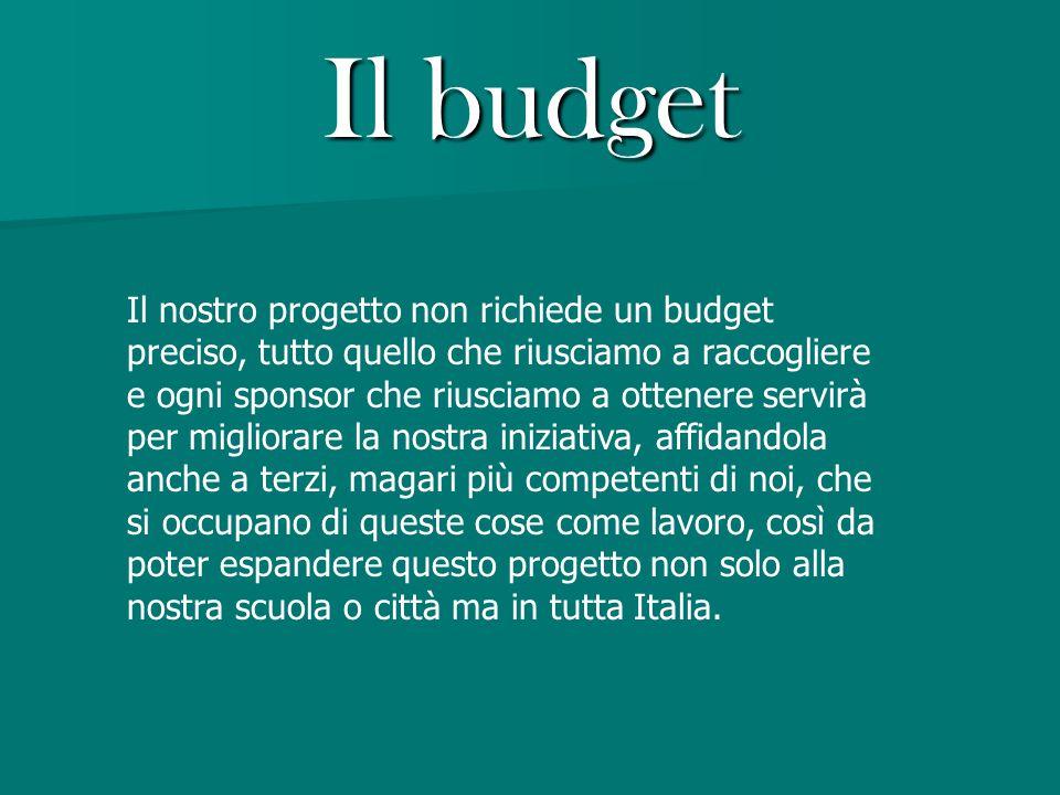 Il budget Il nostro progetto non richiede un budget preciso, tutto quello che riusciamo a raccogliere e ogni sponsor che riusciamo a ottenere servirà