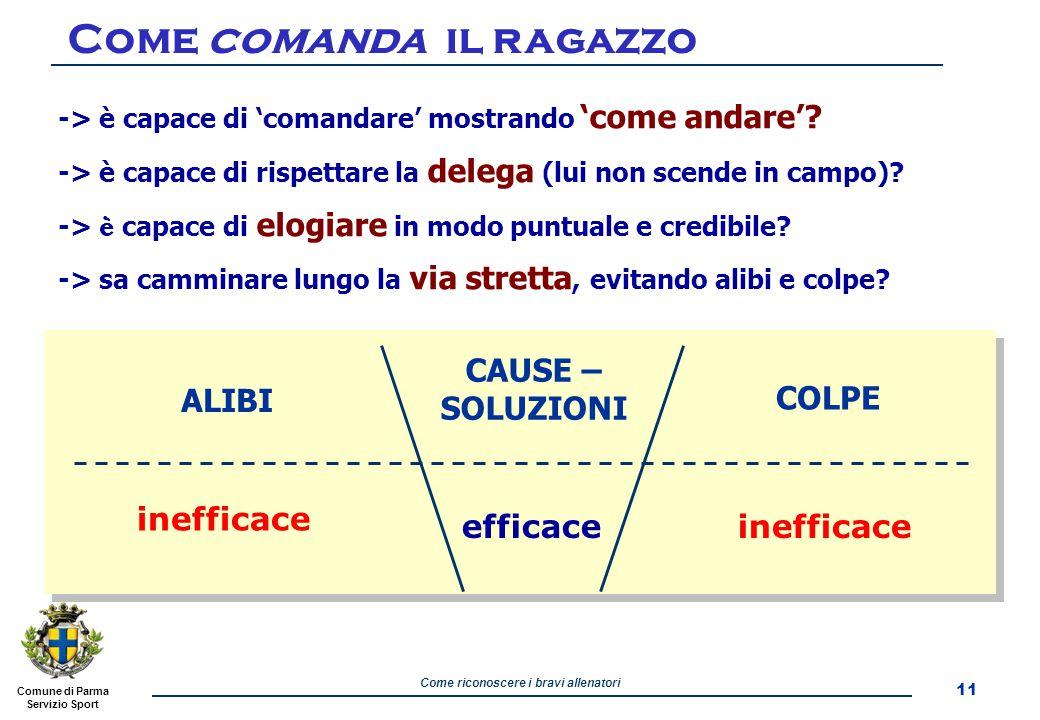 Comune di Parma Servizio Sport Come riconoscere i bravi allenatori -> è capace di 'comandare' mostrando 'come andare'.