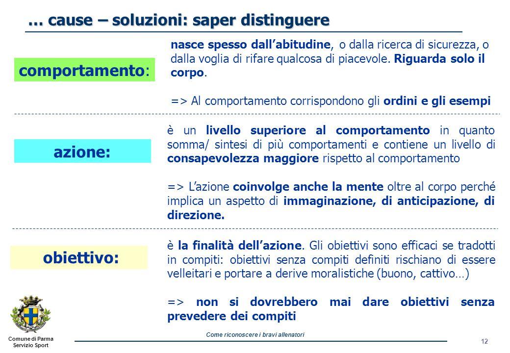 Come riconoscere i bravi allenatori Comune di Parma Servizio Sport 12 … cause – soluzioni: saper distinguere nasce spesso dall'abitudine, o dalla ricerca di sicurezza, o dalla voglia di rifare qualcosa di piacevole.
