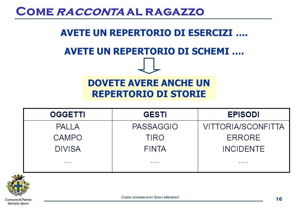 Come riconoscere i bravi allenatori Comune di Parma Servizio Sport Come racconta al ragazzo 16 AVETE UN REPERTORIO DI ESERCIZI ….
