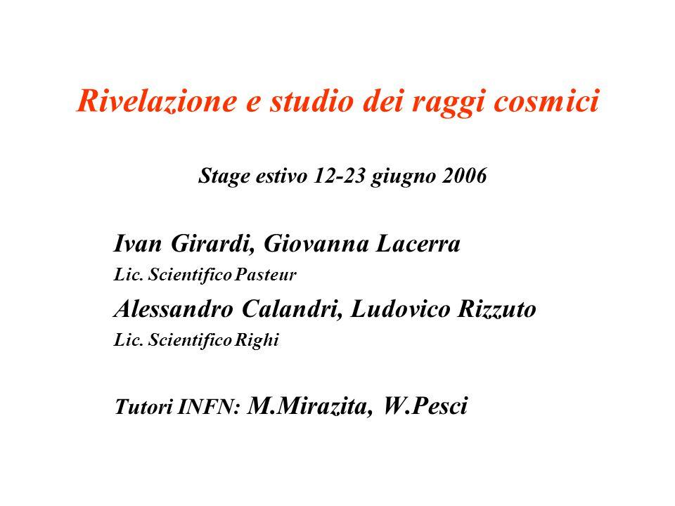Rivelazione e studio dei raggi cosmici Stage estivo 12-23 giugno 2006 Ivan Girardi, Giovanna Lacerra Lic.
