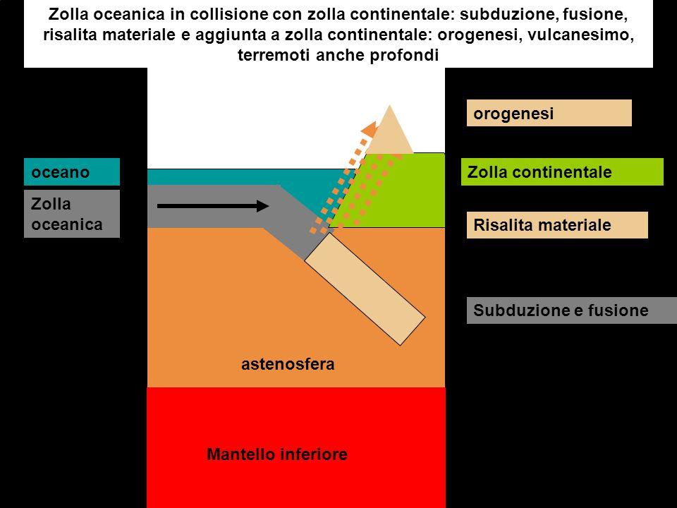Mantello inferiore astenosfera Zolla oceanica in collisione con zolla continentale: subduzione, fusione, risalita materiale e aggiunta a zolla contine
