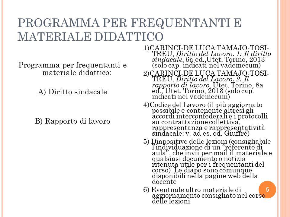 PROGRAMMA PER FREQUENTANTI E MATERIALE DIDATTICO 5 Programma per frequentanti e materiale didattico: A) Diritto sindacale B) Rapporto di lavoro 1)CARI