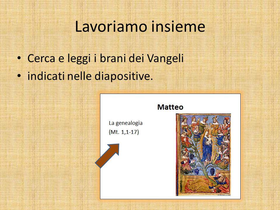Lavoriamo insieme Cerca e leggi i brani dei Vangeli indicati nelle diapositive.