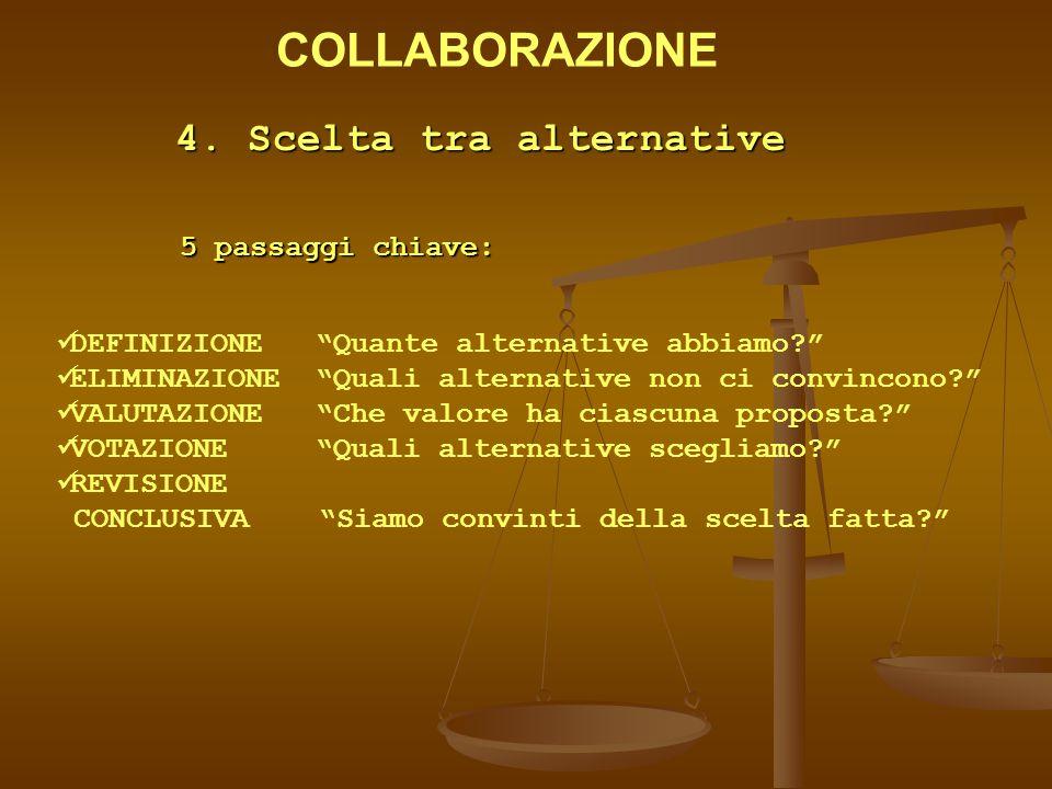 """4. Scelta tra alternative 5 passaggi chiave: DEFINIZIONE """"Quante alternative abbiamo?"""" ELIMINAZIONE """"Quali alternative non ci convincono?"""" VALUTAZIONE"""