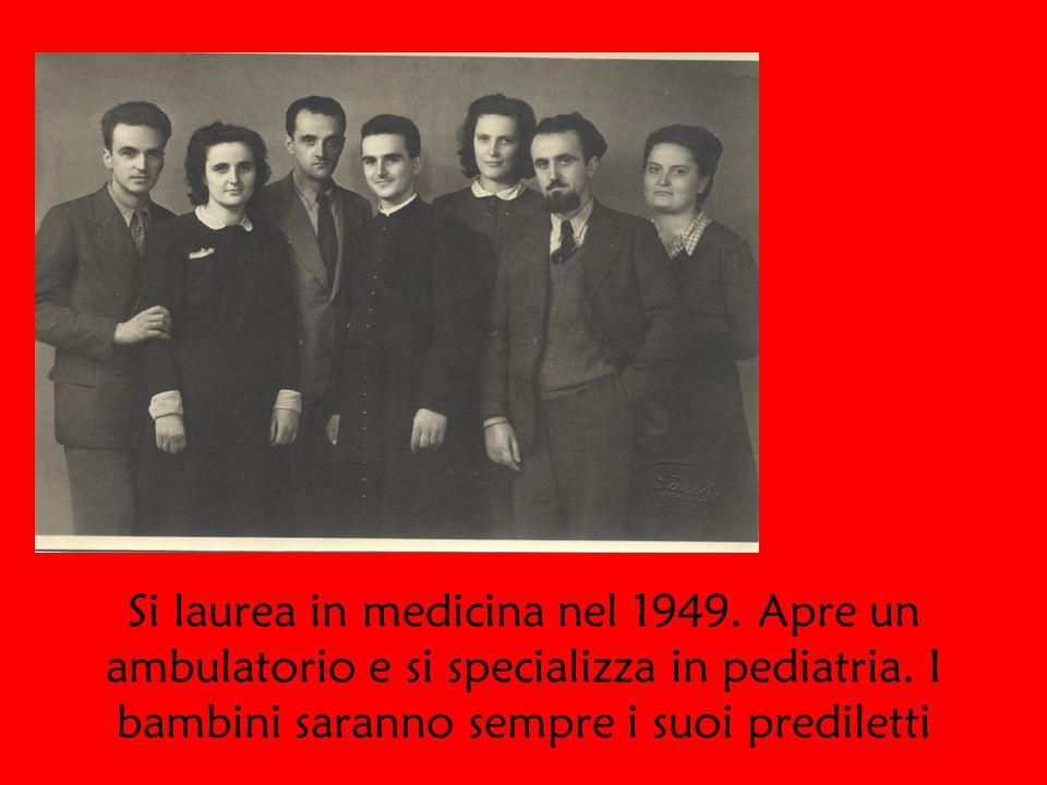 Si laurea in medicina nel 1949. Apre un ambulatorio e si specializza in pediatria.