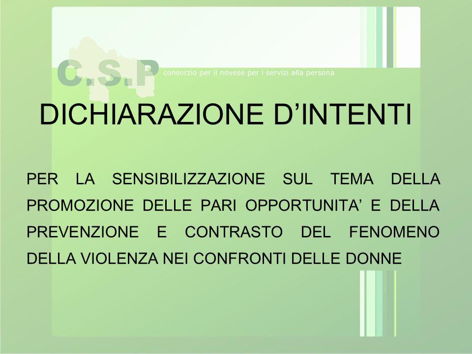 DICHIARAZIONE D'INTENTI PER LA SENSIBILIZZAZIONE SUL TEMA DELLA PROMOZIONE DELLE PARI OPPORTUNITA' E DELLA PREVENZIONE E CONTRASTO DEL FENOMENO DELLA
