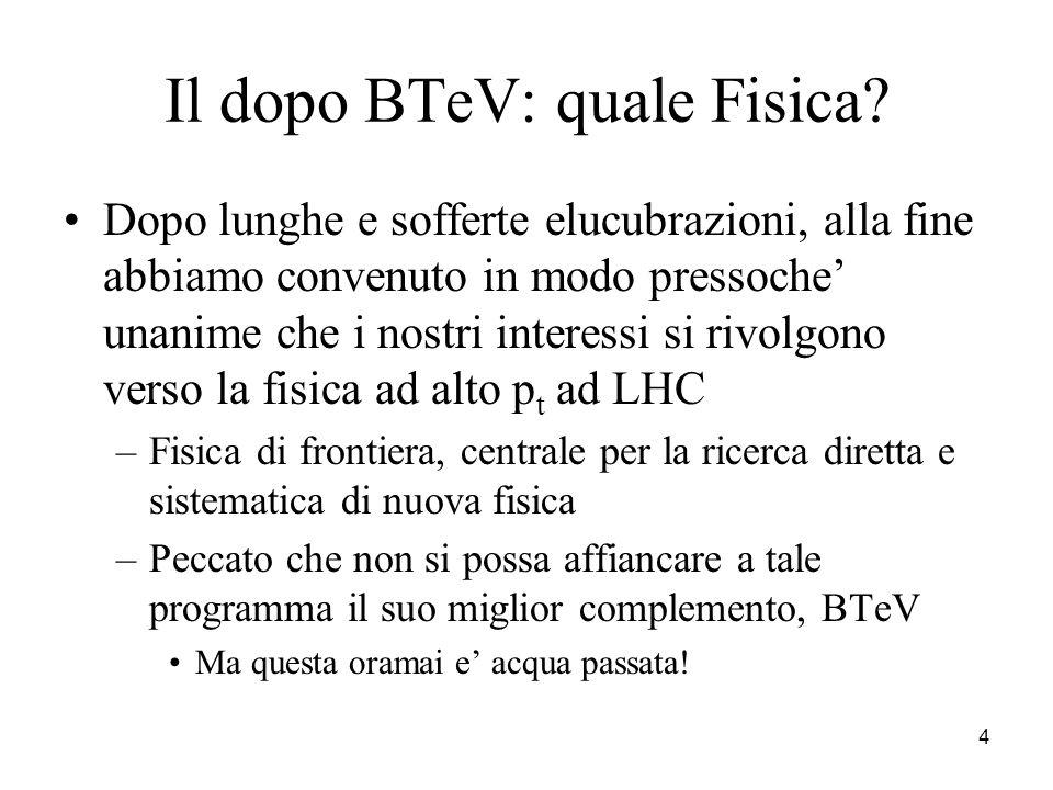 4 Il dopo BTeV: quale Fisica? Dopo lunghe e sofferte elucubrazioni, alla fine abbiamo convenuto in modo pressoche' unanime che i nostri interessi si r