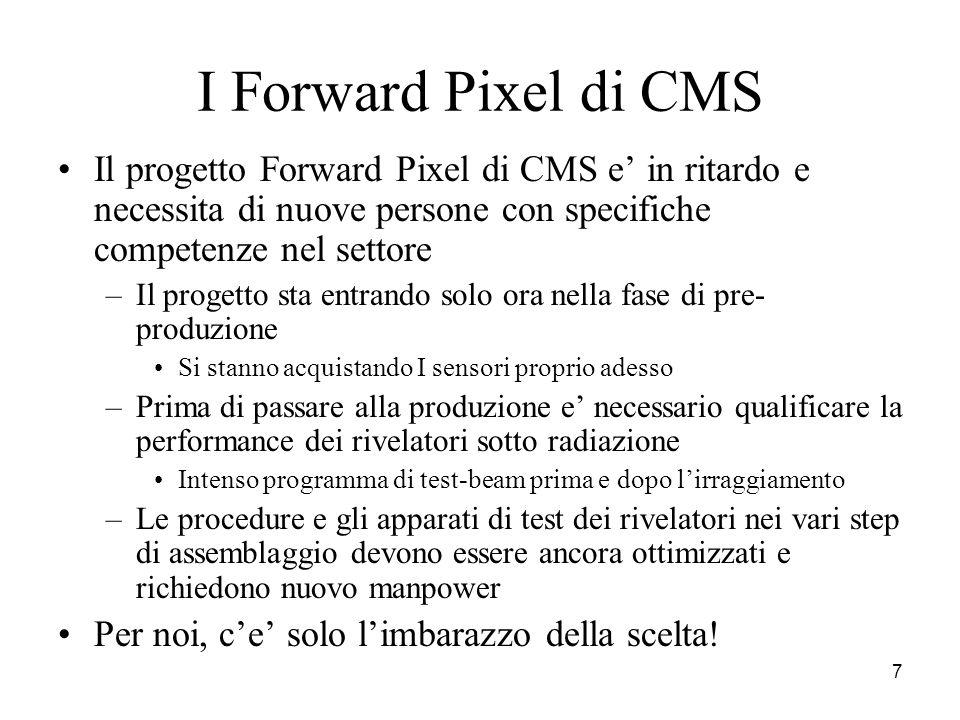 7 I Forward Pixel di CMS Il progetto Forward Pixel di CMS e' in ritardo e necessita di nuove persone con specifiche competenze nel settore –Il progett