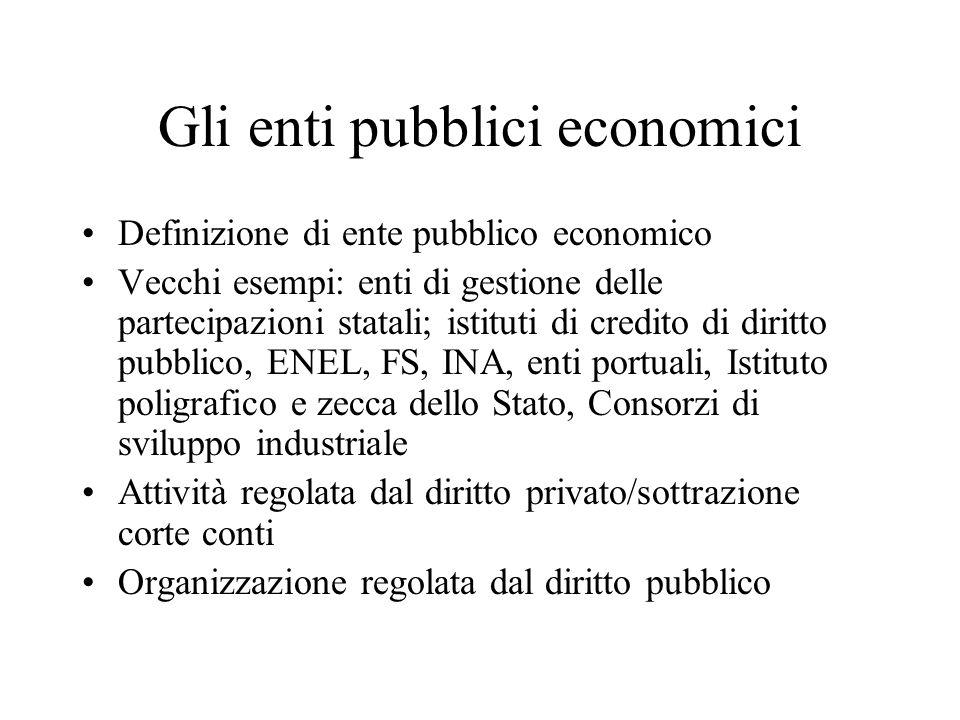 Enti non economici Università Ordini professionali Camere di commercio Vicenda delle IPAB D.lgs.