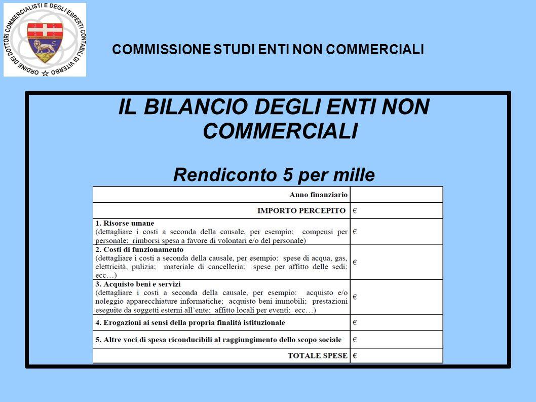 COMMISSIONE STUDI ENTI NON COMMERCIALI IL BILANCIO DEGLI ENTI NON COMMERCIALI Rendiconto 5 per mille (modello Ministero del Lavoro)